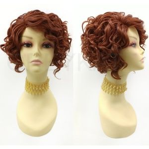 Bright auburn lace front heat safe short curly wig